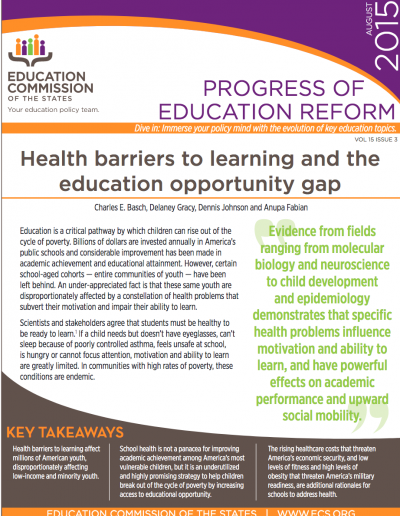 Health barriers to learning and the education opportunity gap